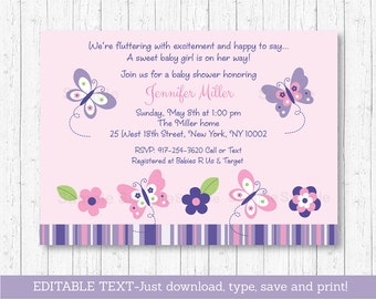 Butterfly Baby Shower Invitation / Butterfly Baby Shower / Pink Butterfly / Purple Butterfly / INSTANT DOWNLOAD Editable PDF A248