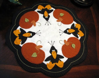 """Hand Stitched 17"""" THOSE BLASTED CROWS! Wool-Felt - Wool Applique - Penny Rug - Candle Mat - Home Decor - Fall Decor - Fiber Art -Table Decor"""