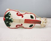 Vintage Porcelain Christmas Cello Wall Pocket / Ornament with Holly - Inarco 1963