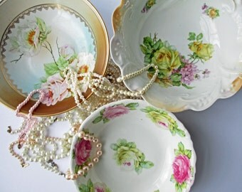 Vintage Rose Porcelain Serving Bowl Collection German Set of Three