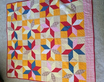 Antique Quilt In Reds Indigo & Cheddar Very Vibrant 1940s