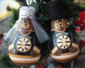 Bruins Bride and Groom Lightbulb Ornaments RESERVED for Katelyn