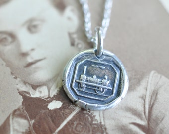 train wax seal necklace - begin your journey - bon voyage gift - silver antique wax seal jewelry