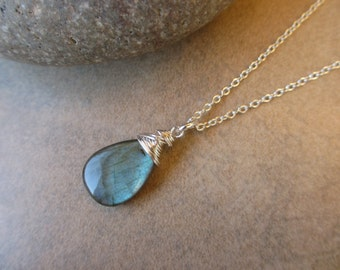 Blue Labradorite Necklace, Sterling Silver, Wire Wrapped, Large, Pendant, Irisjewelrydesign