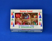Vintage Santa Land Christmas Tree Ornaments in Box - Set of 6