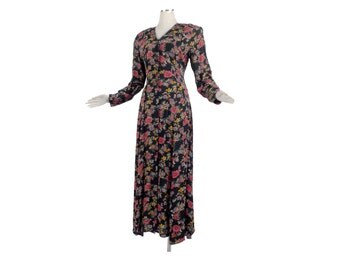 Vintage 90s Dress - 90s Rayon Dress - Rayon Floral Dress - 90s Express Dress - Secretary Dress - Black Floral Dress - 90s Floral Dress M L