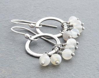 Moonstone Earrings, Moonstone Dangle Earrings, Hammered Circle Dangle Earrings, Moonstone Drop Earrings, June Birthday, Silver, #4679