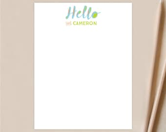 Canvas Hello Colorful  Personalized Stationery - Personalized Note Cards - Set of 12