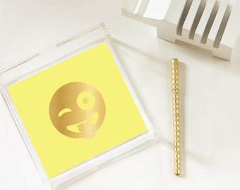 Winky Face - Emoji - Gold Foil Emoji Tray - Trinket Tray - Home Decor - Jewelry Organizer - 3 Sizes