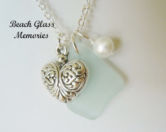 Sea Foam Beach Glass Necklace  Seaglass  Sea Glass Jewelry Pendant Charm Necklace