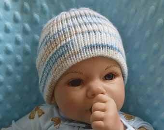 Newborn Knit Hat - Knit Hat for Newborn - Baby Hat - Baby Knit Hat - Shower Gift - Baby Boy Hat - Blue - Baby Gift - Knitted Hat