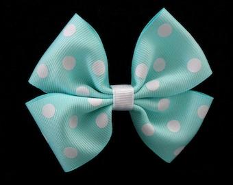 Aqua Polka Dot Hair Bow - Girls Bow - Hair Accessory - Girls Hair Bow - Hair Clip - Hair Bow Clip