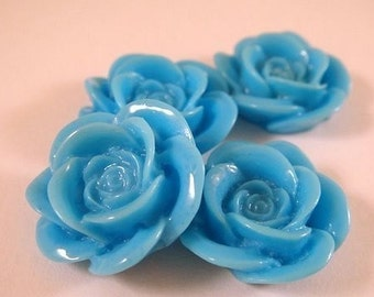 BOGO - 8 Turquoise Blue Cabochon Rose Resin 18mm - No Holes - 8 pc - CA2007-TQ8 - Buy 1, Get 1 Free - No coupon required