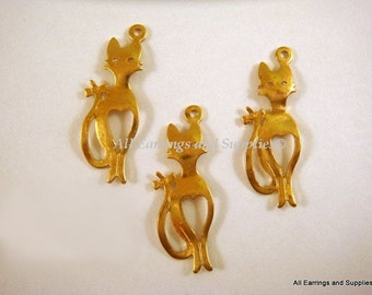 SALE - 10 Unplated Brass Cat Charm Pendant Drop LF/CF 21.5x7.5mm - 10 pc - DC3006-UN10