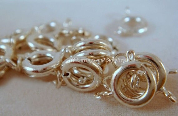 25 Silver Spring Ring Clasp Silver Plated Brass 7mm - 25 Pc - 1859-7