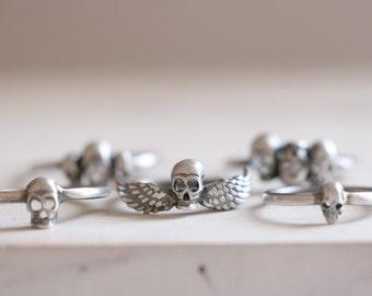 Skull ring. Sterling silver winged skull. Winged skull, Skull band, silver skull, Skeleton, gothic style, Stacking ring, silver skull ring.