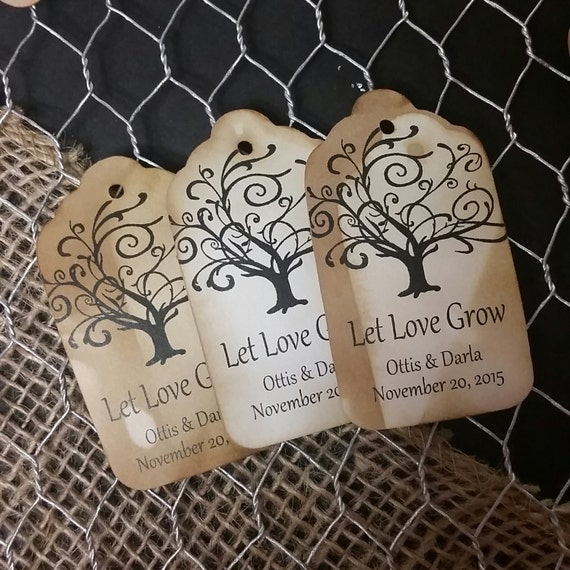 Let Love Grow MEDIUM Personalized Wedding Favor Tag  choose your amount