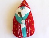 Santa is Coming to Town Hand Embroidered Felt Santa Ornament