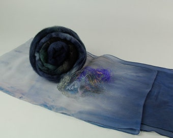 Nuno Felt Scarf Kit with Instructions and Embellishments