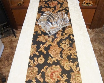 """TABLE RUNNER - Black with Multi Color Autumn Color Floral Pattern - 72"""" x 14"""" - Item #TR442002"""