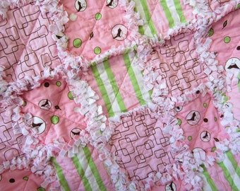Baby Girl Rag Quilt, Pink Brown Green Baby Quilt, Baby Birds Quilt, Patchwork Baby Quilt, Flannel Baby Blanket, Baby Nursery Decor