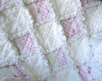 """Minky Baby Quilt, 31"""" x 36"""",Baby Rag Quilt, Cottage Chic Decor, Pink Baby Blanket"""
