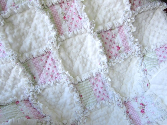 Minky Baby Quilt 31 X 36baby Rag Quilt By Littletreasurequilts