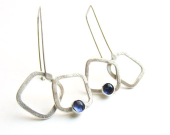 """violet iolite silver """"Double Pane Row"""" square earrings READY TO SHIP"""