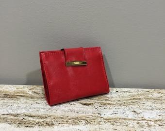 Vintage Red Wallet, Bi Fold wallet, Pocketbook with Photo File, Change Purse, 70c Wallet