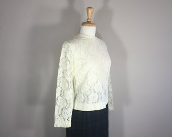 Judy Bond Lace Top, Lace Blouse, Ivory Lace Blouse
