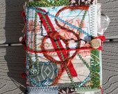 Quilted Fiber Art Journal Painted Papers Lace Embellished Yarns Fabric Beaded Handmade Red Rust  Black Blue