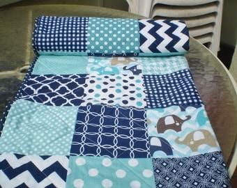 Baby quilt, Handmade baby quilt, teal navy blue aqua chevron, baby boy bedding quilt, elephant, woodland  crib quilt,  modern, Ellie Blue