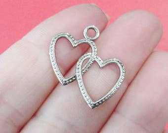 10, Double Open Heart Charms 23.5x23mm, Hole: 2.5mm