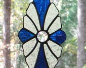 Stained Glass Suncatcher - Victorian in Cobalt Blue, Crystal Jewel Center, and Frosted Glass