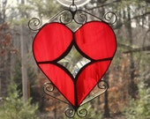 Stained Glass Heart - Red Wispy Glass with Curly Cue Accents and Star Bevel Center