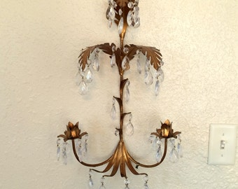 Large Italian Florentine Crystal Tole Sconce Shelf Made in Italy Paris Decor, French