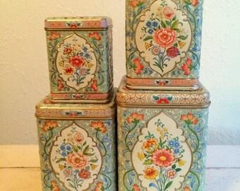 Daher Holland Vintage Canister Set Floral Chic Set of 4
