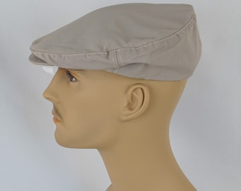 Vintage Mans Hat Khaki Canvas Adjustable Flat Cap Sz M L NOS