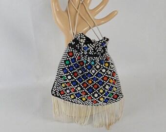 Vintage 1950s Purse Beaded Candy Dot Fringed Tiny Drawstring Handbag
