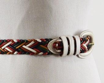 Vintage Multi Colored Leather Weave Belt Sz M