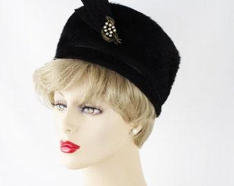 Vintage 1960s Hat Black Faux Fur Pillbox with Rhinestone Brooch by Lisa