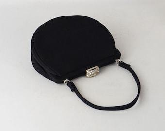 Vintage 1950s Black Faille Small Half Moon Rhinestone Evening Handbag by L and M