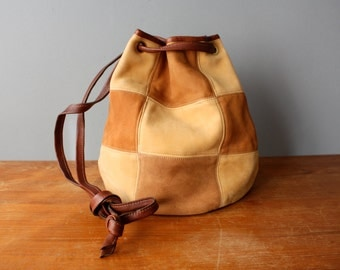 Vintage 90s drawstring / suede backpack / leather bucket bag