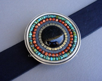 Black Jade, Turquoise and Aventurine  Mosaic Belt Buckle and Leather Strap with Free Shipping!
