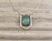 Custom Listing - Reserved For Felicia - Labradorite Necklace with Silver Crystal Link - Short Chain Necklace - Modern Pendant Necklace