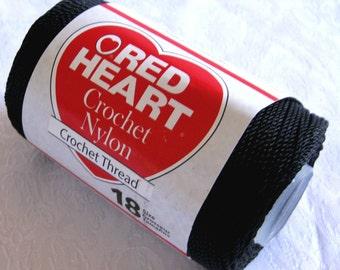 BLACK 3 ply Nylon cord, size 18, Crochet nylon string art thread, macrame cord, yarn