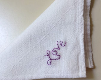 Hand Embroidered Handkerchief Love
