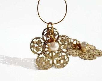 Gold plated earrings, Gold Filigree Flower Earrings with  Pearl, Small dangle earrings