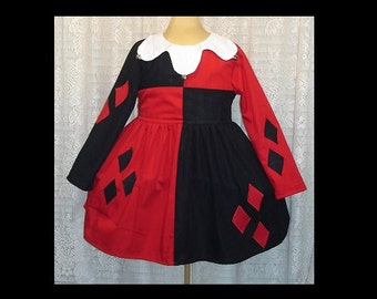 Harley Quinn Joker Jester Girls Dress(-----)Also Includes Hat(-----)Made to order in sizes 12 months to Girls size 8