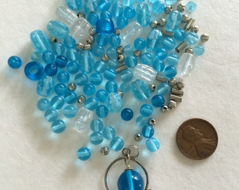 Blue and crystal beads H5